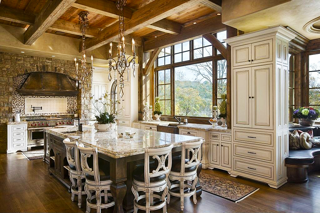country-kitchen-designs-ideas-with-large-luxury-wooden-dining-table-designs-with-oak-wooden-kitchen-cabinet-designs-with-pedant-lights-decor-mix-wood-beam-ceiling