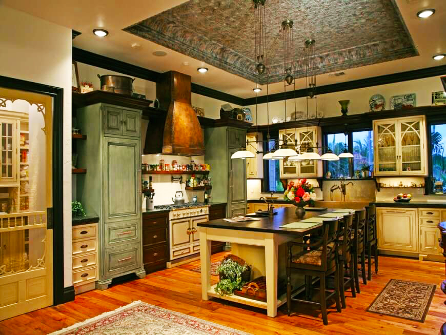 country-kitchen-designs-ideas-with-large-rectangle-wood-dining-table-design-with-pendant-lights-for-country-kitchen-remodeling-ideas
