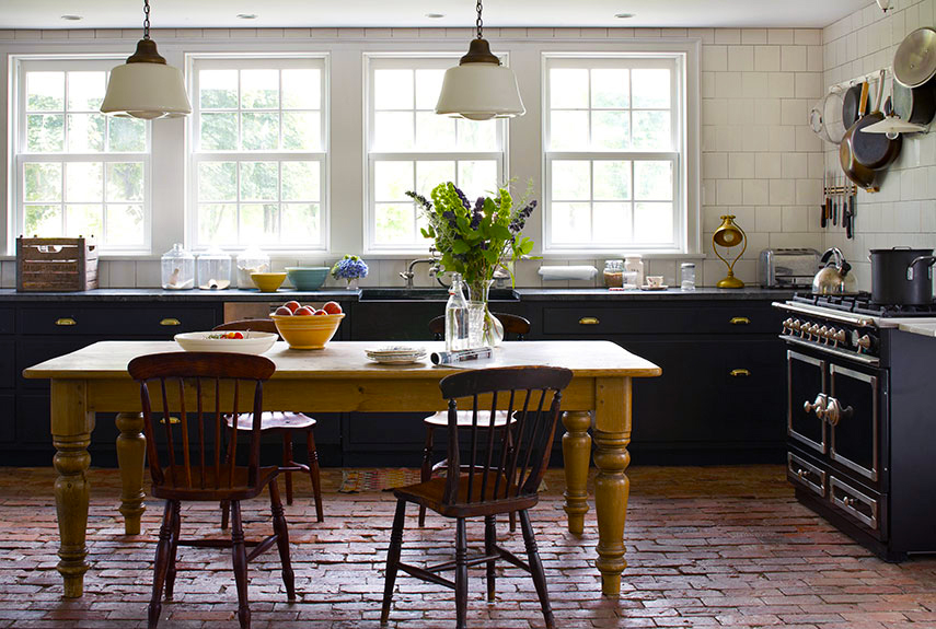 country-kitchen-designs-ideas-with-luxury-classic-stove-and-pendant-light-decor-above-wooden-dining-table-with-black-kitchen-cabinet-designs-also-terracota-floor