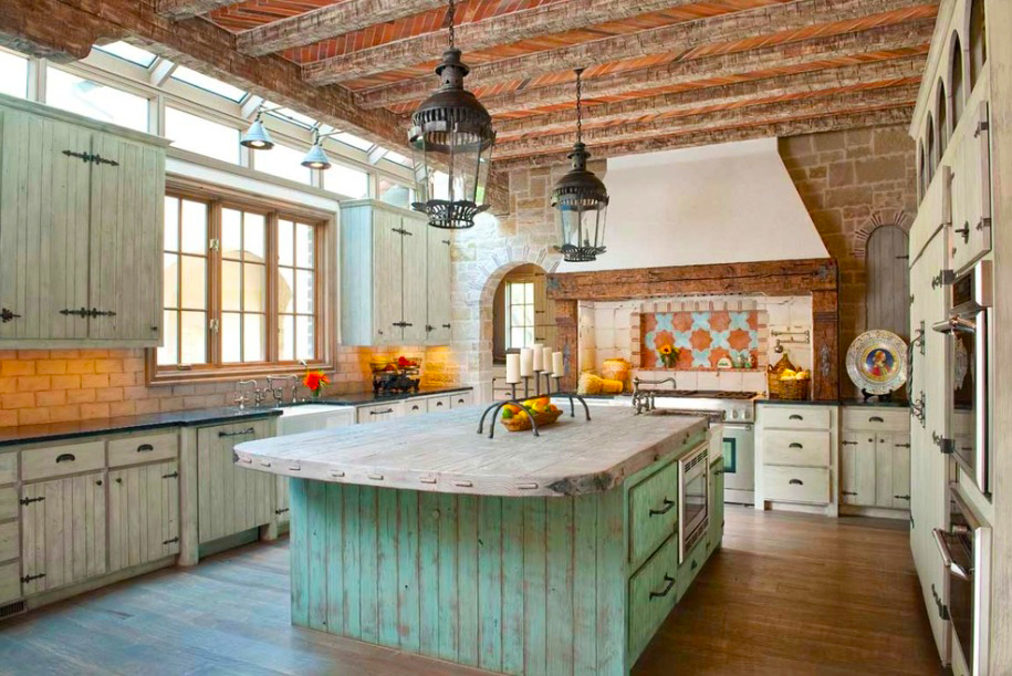 country-kitchen-designs-ideas-with-traditional-rustic-kitchen-designs-remodeling-ideas-with-large-wooden-island-above-luxury-classic-pendant-lights-decor-ideas