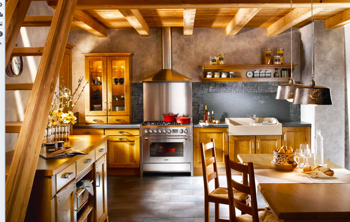 country-kitchen-designs-ideas-with-wood-beam-ceiling-designs-and-wooden-kitchen-cabinnet-designs-also-stainless-steel-stove-mix-with-pendant-lights-kitchen-decor