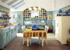 country kitchen designs  with blue and yellow tile country kitchen and pendant lights kitchen decor ideas also wooden white dining table ideas