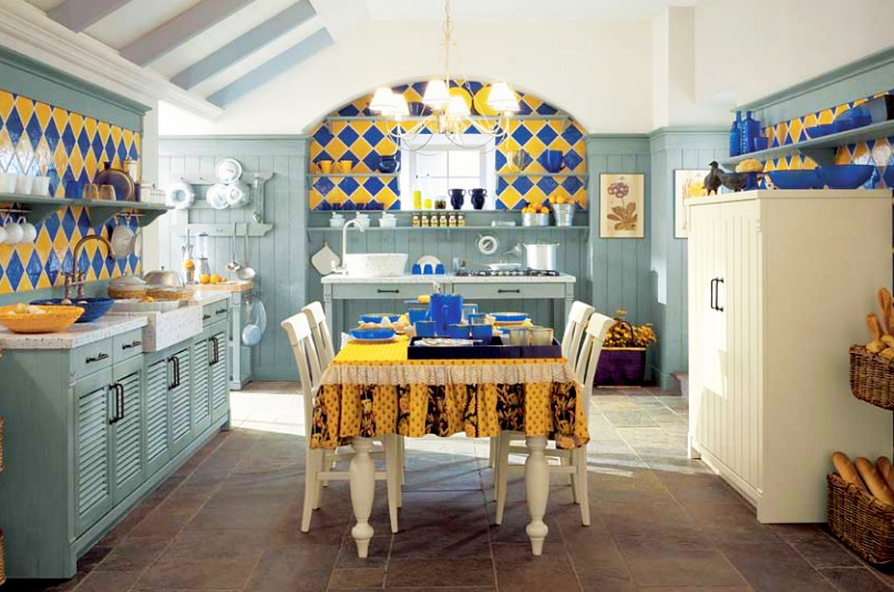 country-kitchen-designs-with-blue-and-yellow-tile-country-kitchen-and-pendant-lights-kitchen-decor-ideas-also-wooden-white-dining-table-ideas