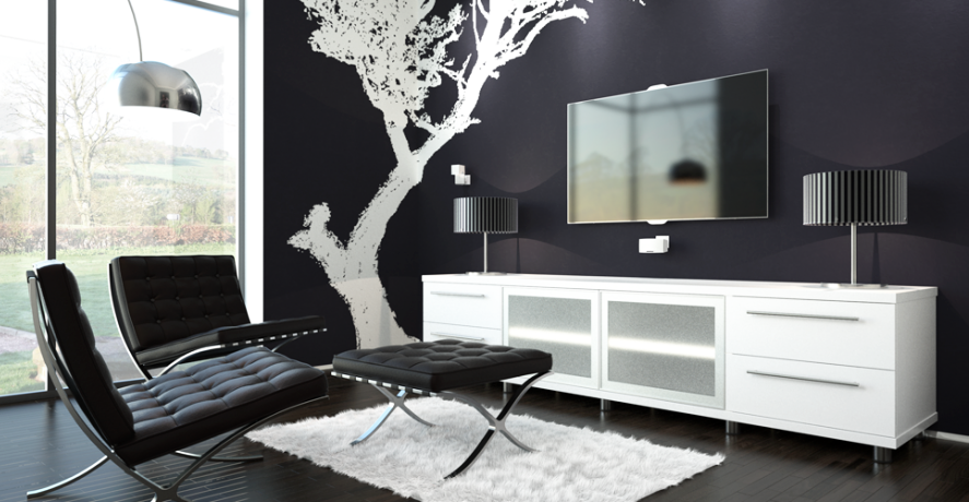 furniture-for-modern-house-in-black-and-white-color-schemes-with-back-leather-tufted-ottoman-chair-with-white-rug-area