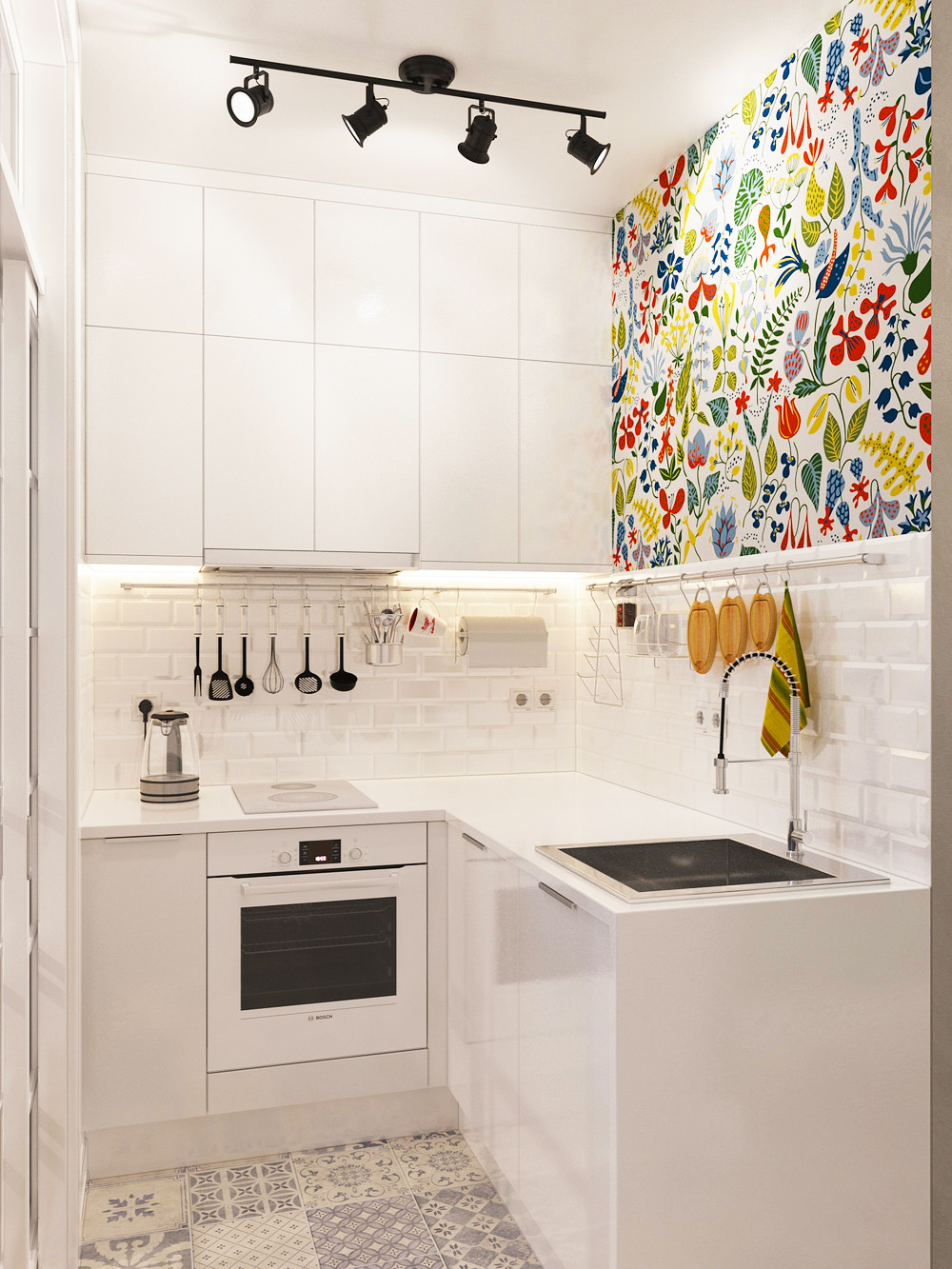 ideas-for-small-kitchens-design-ideas-for-white-small-kitchen-remodeling-ideas-with-spot-hanging-lamps-and-colorfull-wallpaper-ideas-for-small-kitchen-layouts