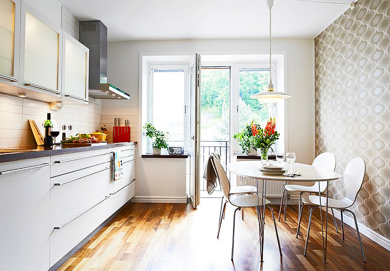 ideas-for-small-kitchens-design-in-modern-white-small-kitchen-remodeling-ideas-with-kitchen-tables-small-spaces-and-pendant-lights