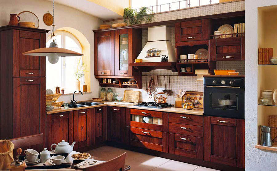 italian-kitchen-design-ideas-photos-of-kitchen-cabinets-traditional-dark-wood-cherry-colors-italian-aida-wood-hood-arch-for-new-small-italian-kitchen-design-layout-pictures