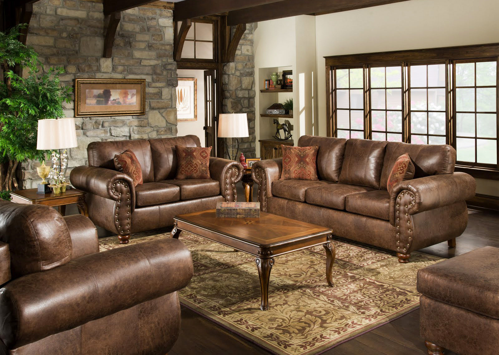 leather-furniture-living-room-furniture-sets-in-vintage-home-furnitures-ideas-with-leather-sofa-and-wooden-coffee-table