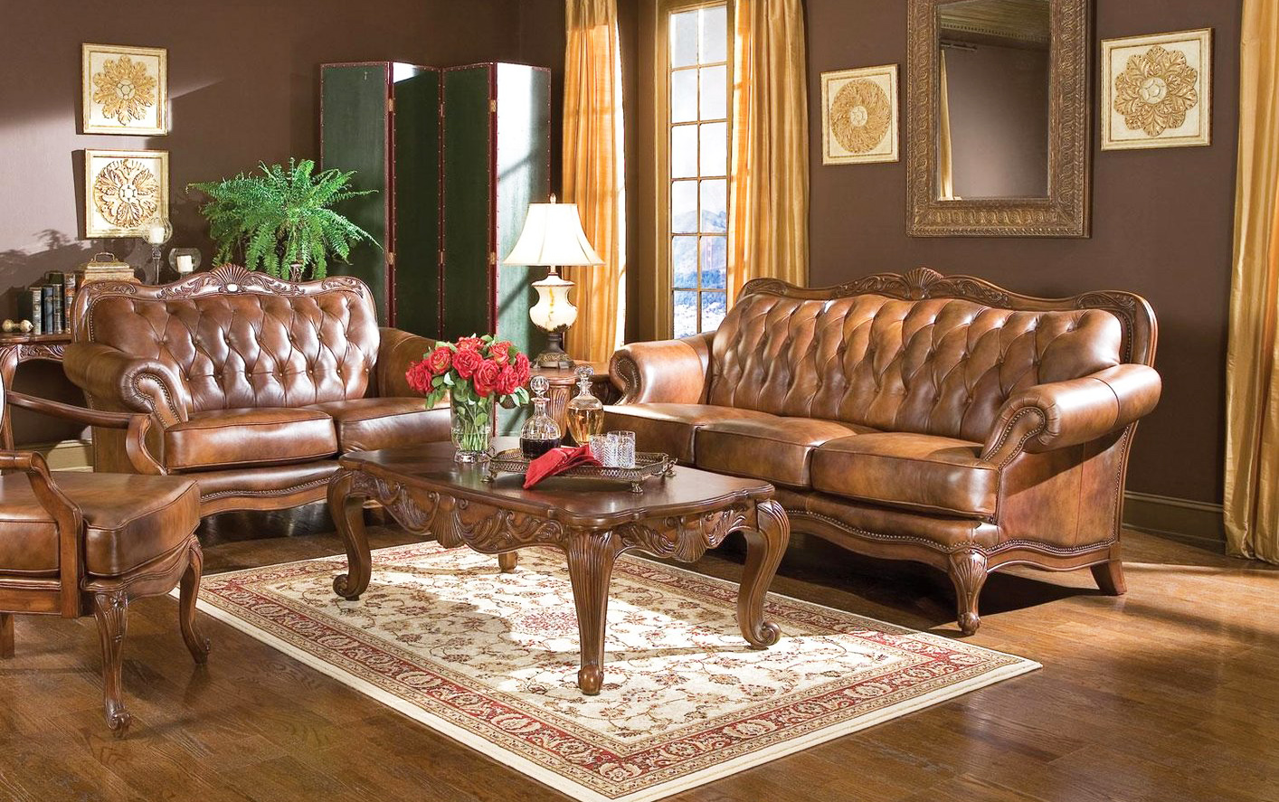 leather-furniture-with-vintage-living-room-furniture-sets-with-tufted-leather-sofa-design-and-wood-coffee-table