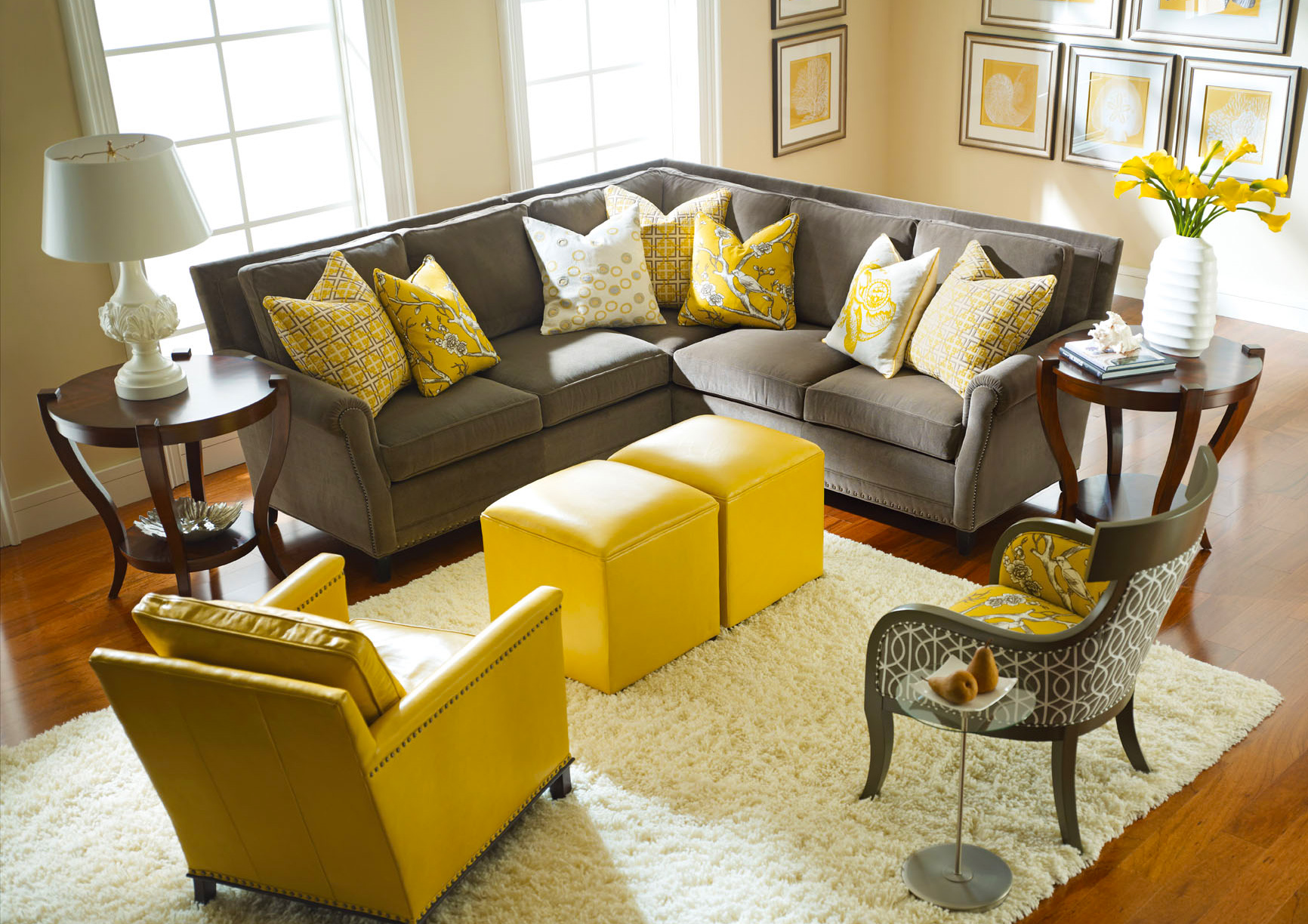 living-room-furniture-arrangement-grey-yellow-ideas-with-gray-sofaand-yellow-square-leather-ottoman-coffe-table-arm-sofa-chair_brown-living-room-rugs_living-room_ikea-living-room-lamps-ideas