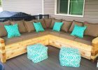 modern Outdoor from wooden pallet to make cozy outdoor sofa pallet with grey cushion with small square ottoman chair ideas