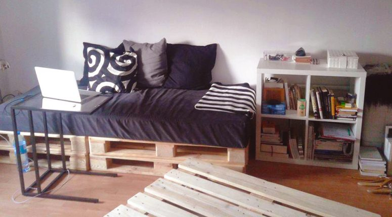 multipurpose furniture for small spaces from wooden shipping pallets furniture how to make. Black Bedroom Furniture Sets. Home Design Ideas
