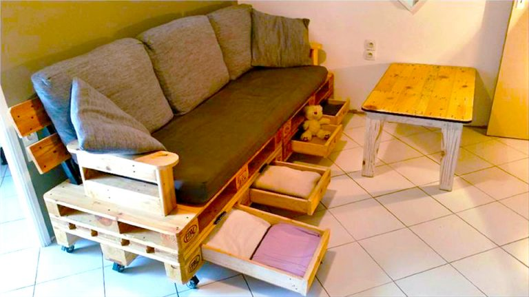 Multipurpose Furniture For Small Spaces With Wooden Shipping Pallets  Furniture How To Make Diy Pallet Sofa With Drawers For Storage Ideas In Pallet   ...
