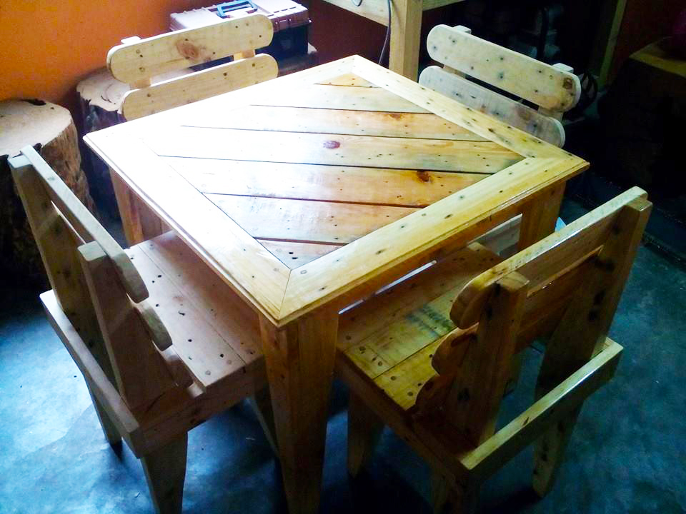 dining room table made from pallets | Kids Furniture Ideas from Wooden Pallet | Roy Home Design