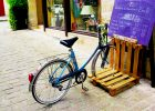pallet storage furniture Pallet Bike Rack as pallet project ideas for storage solution bike rack parking in front of store home furnishing