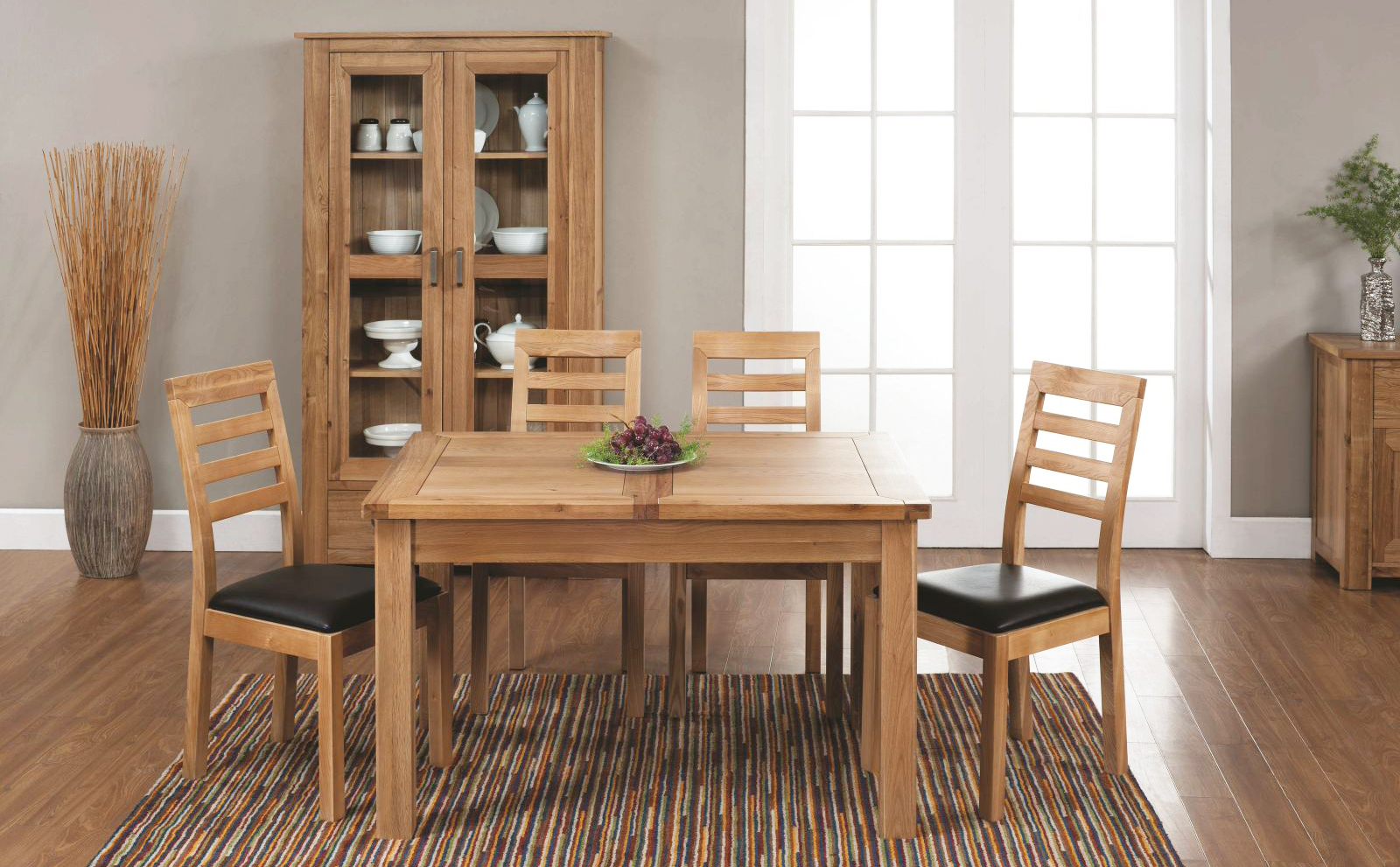 the-best-wooden-furniture-material-dining-room-design-with-ergonomic-high-back-oak-unfinished-furniture-oak-furniture-chairs-on-brown-rug-vinyl-flooring-design