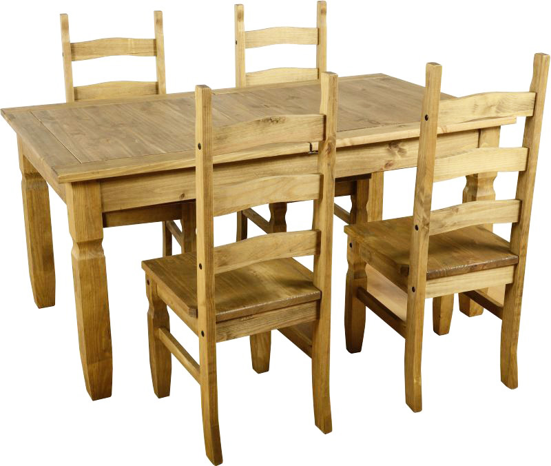The Best Wooden Furniture Material for All Type of House  : the best wooden furniture material for pine wood dining table four chairs seats with unfinished wood furniture design from www.royhomedesign.com size 800 x 676 jpeg 142kB