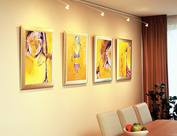 wall-panting-decorations-for-dining-room-with-highlight-lamps