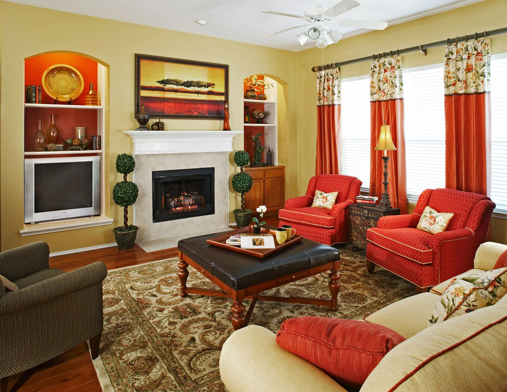 Red living room ideas to decorate modern living room sets - Pictures of decorated living rooms ...
