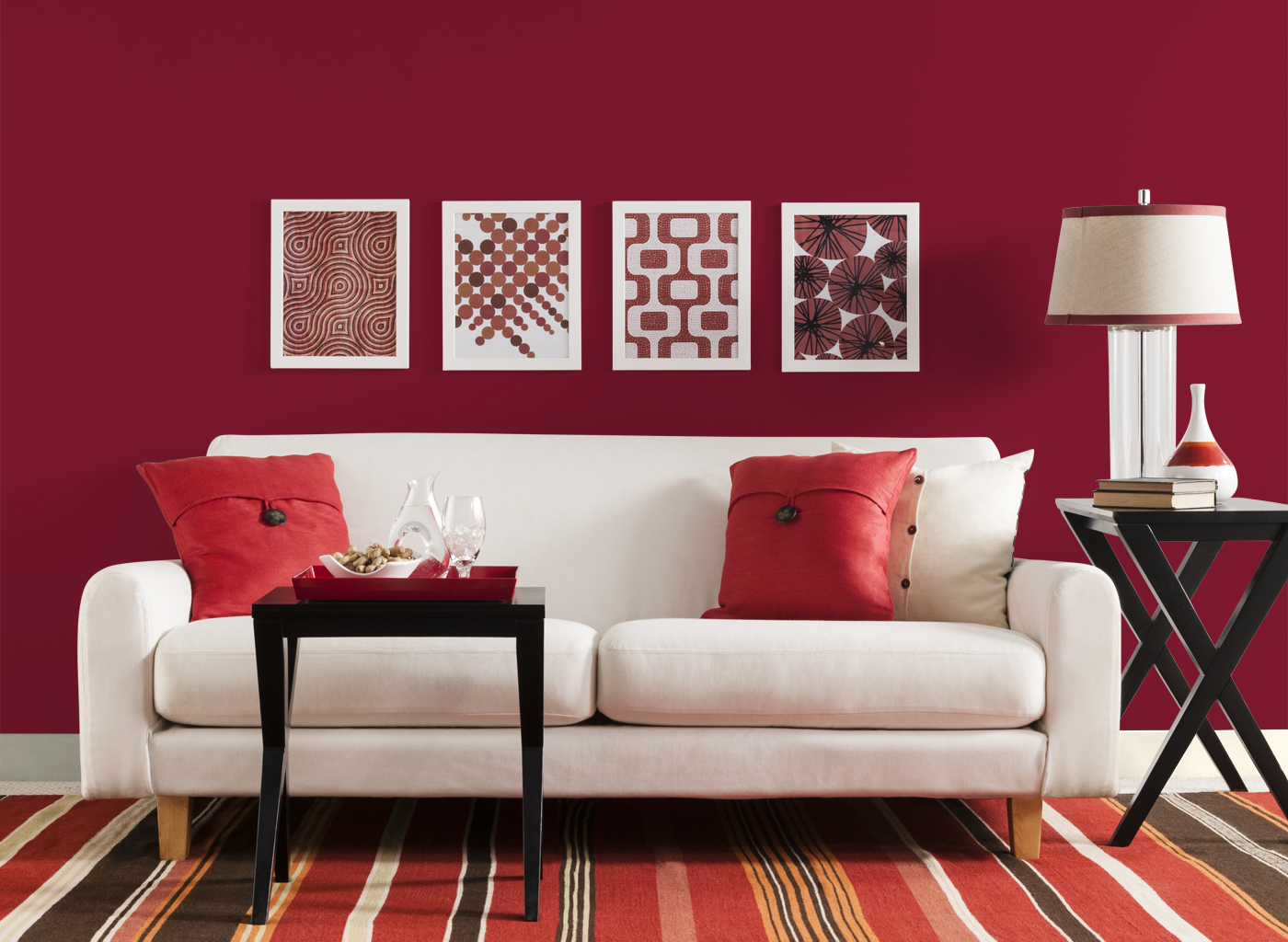 Red Colour Wall: Red Living Room Ideas To Decorate Modern Living Room Sets