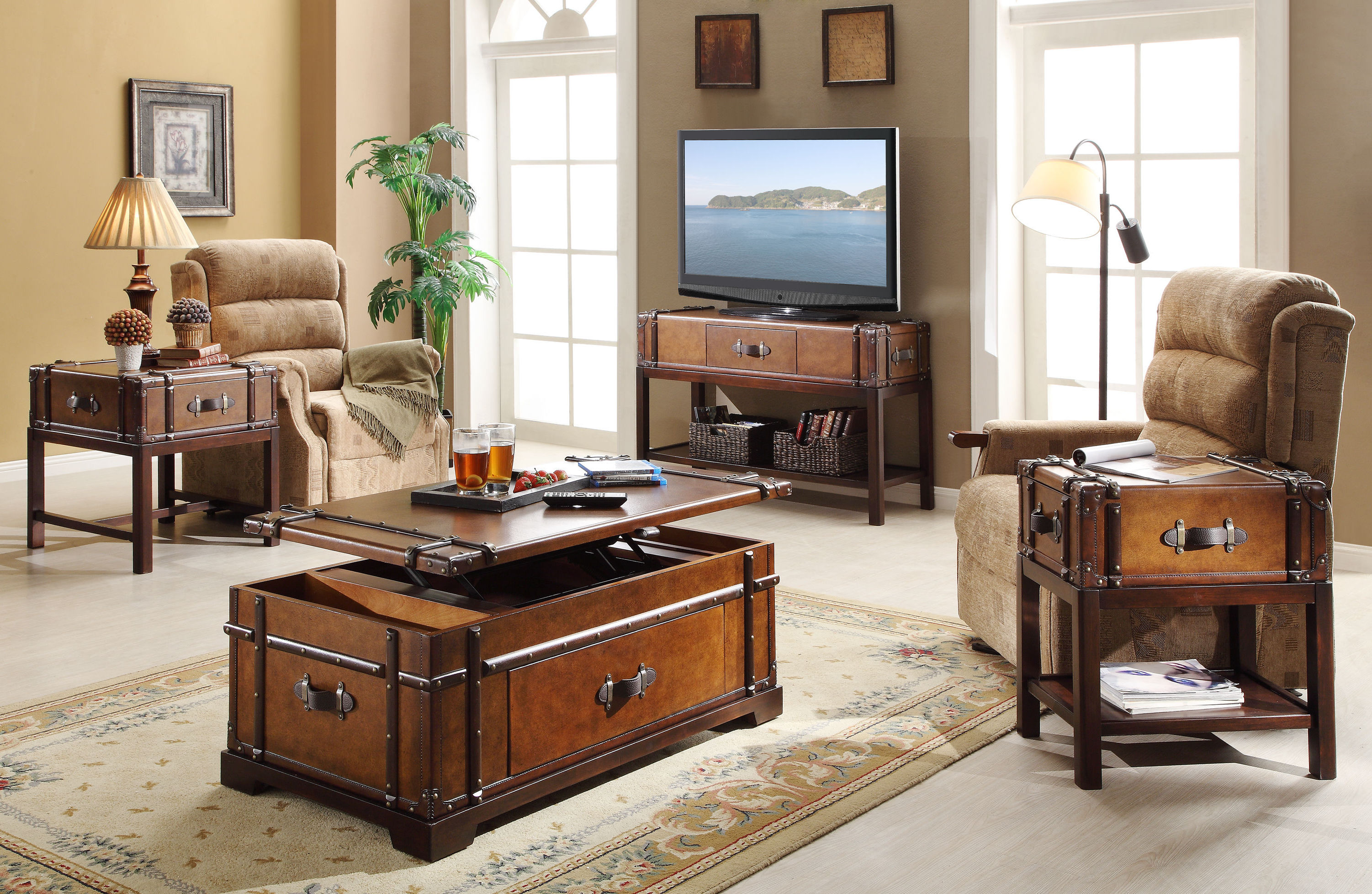 awesome wooden storage living room furiture chest table sets ideas