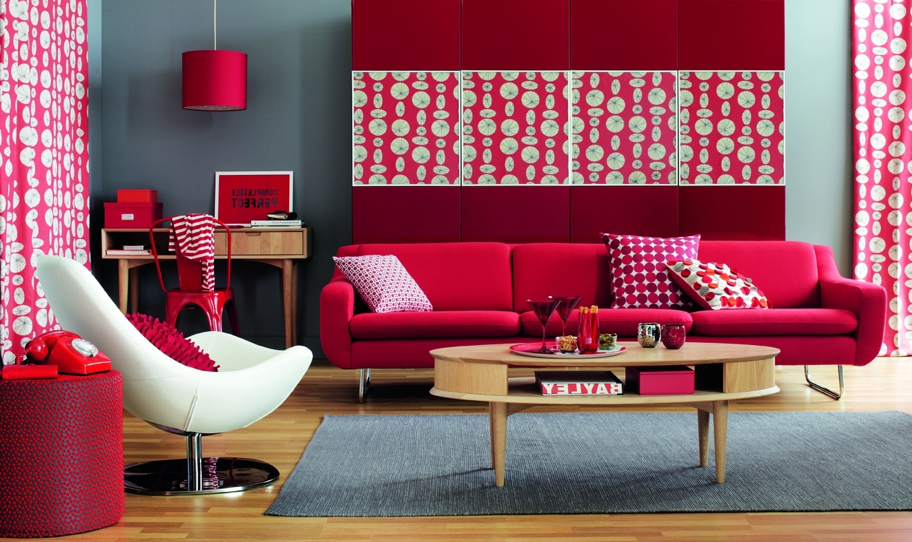 Red living room ideas to decorate modern living room sets Cheerful colors to paint a room