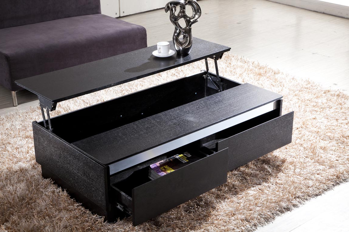 black wooden modern living room adjustable lift top coffee tables storage