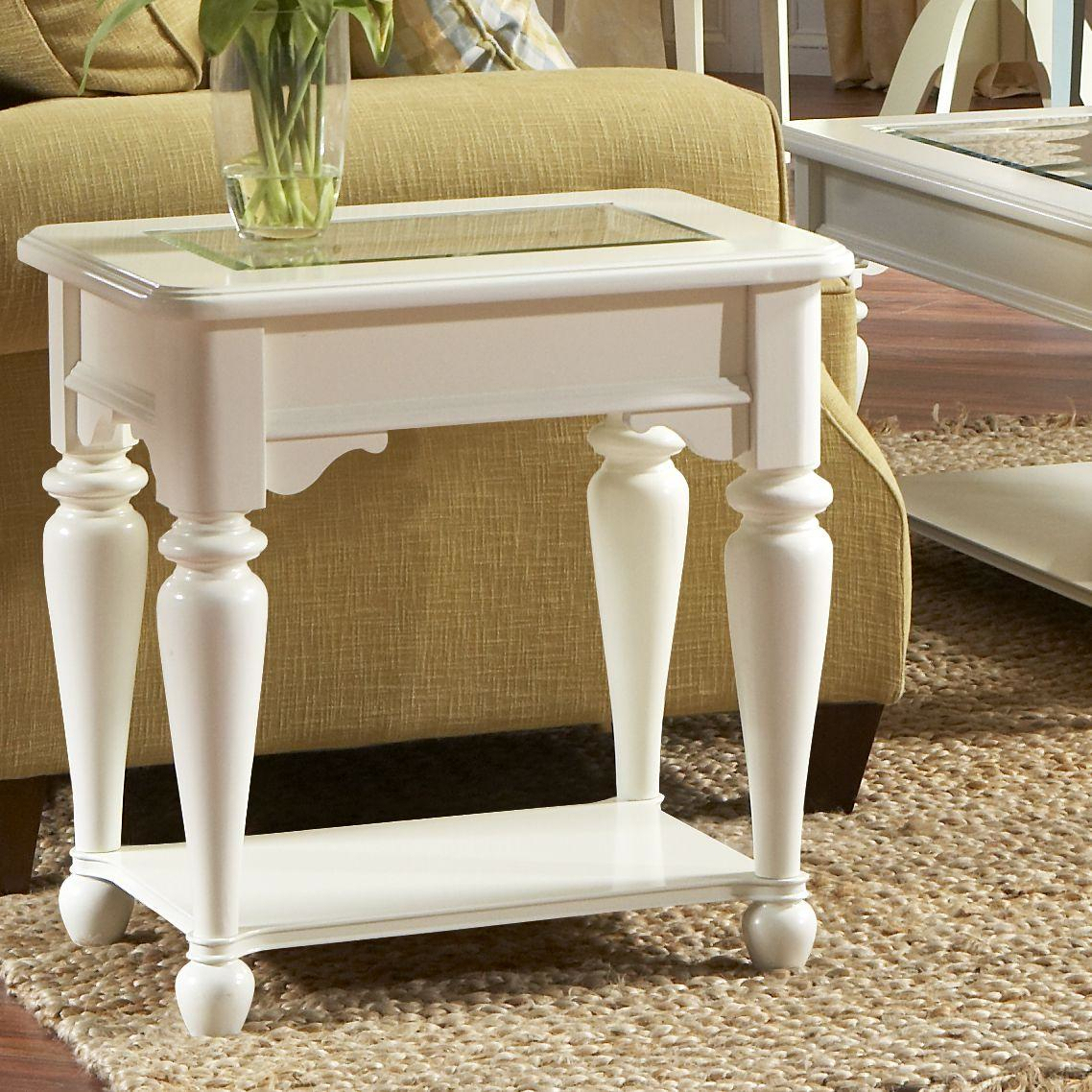 cheap white wooden living room side tables with glass on top