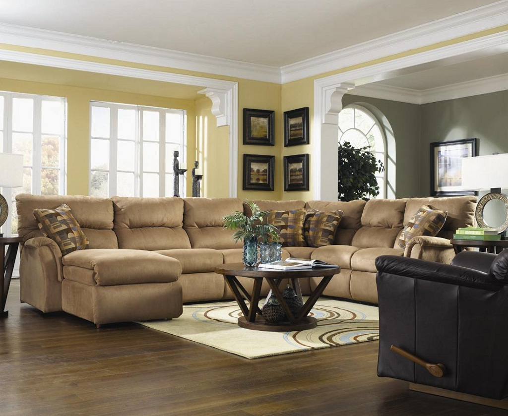 contemporary living room ideas decorating with brown sectionals sofa with loveseat and wooden round coffee tables