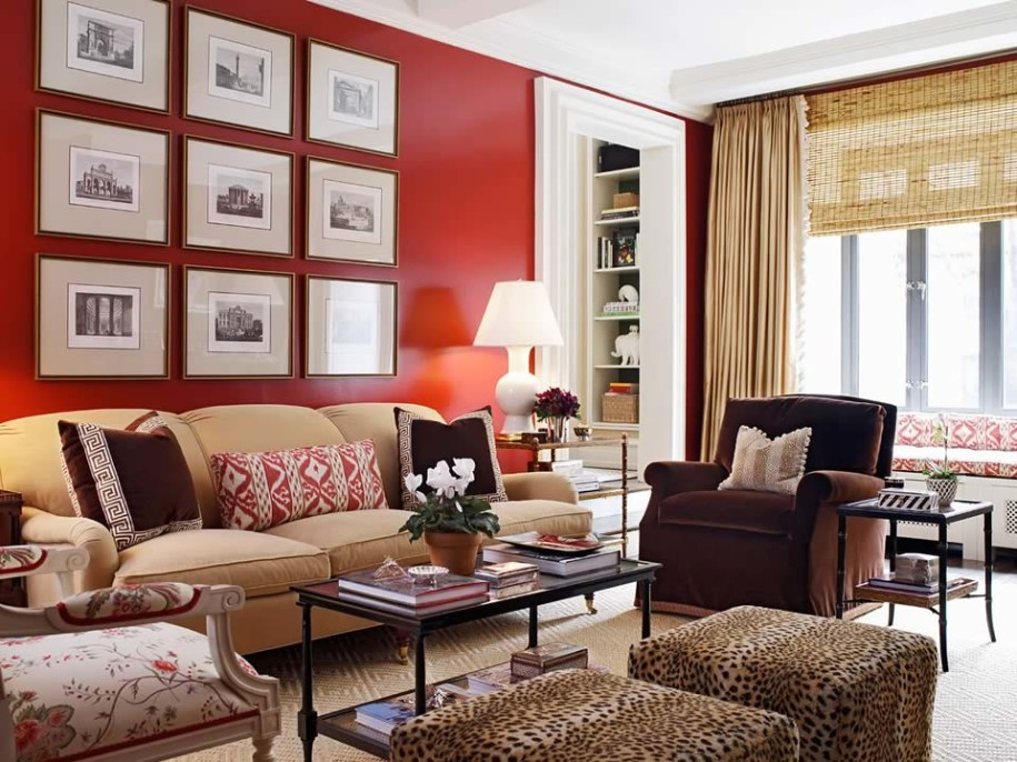 contemporary red wall paint decorating living room pictures ideas