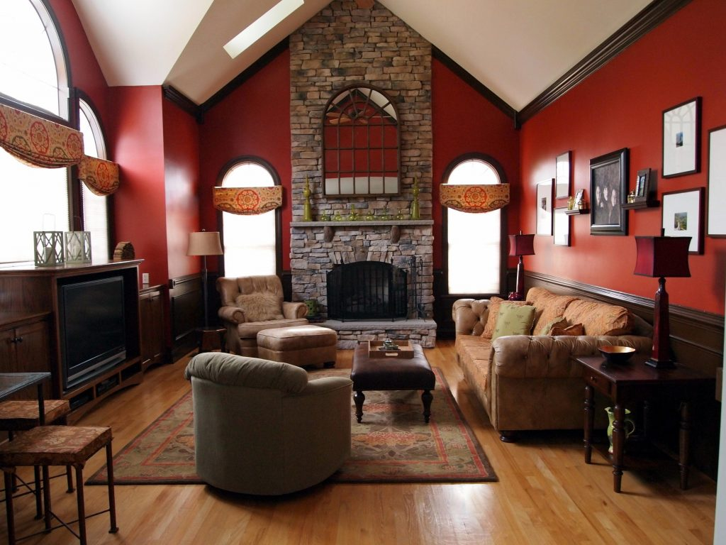 contemporary red wall paint living room pictures ...