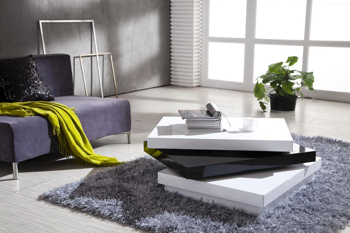 Modern living room coffee tables sets roy home design for Black and white living room set