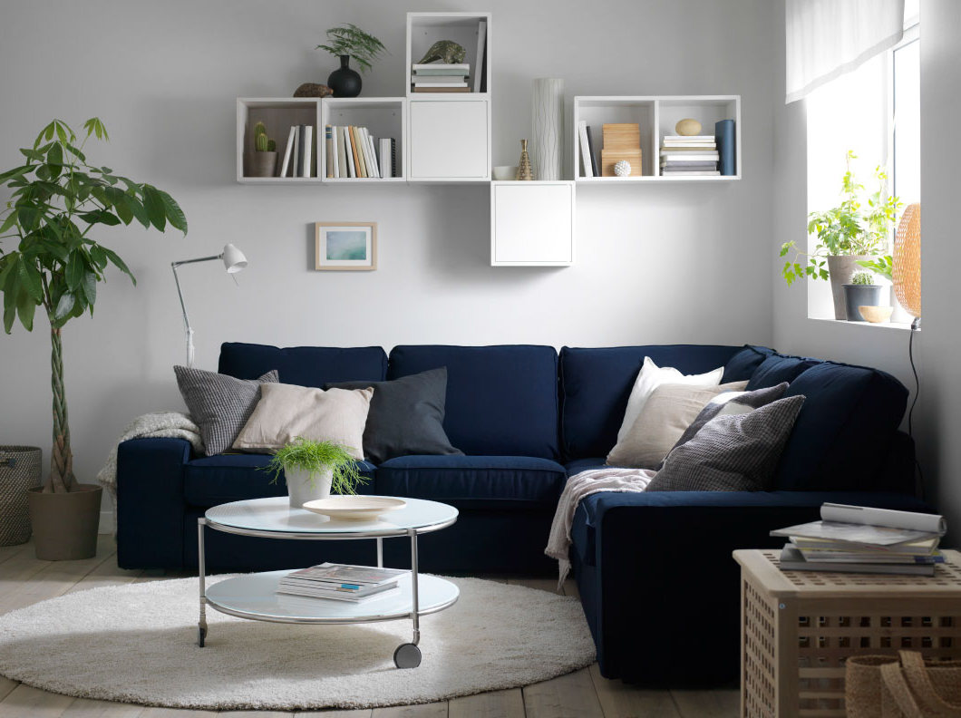 elegant living room ideas decorating with fabric navy blue sectionals sofa with cushions