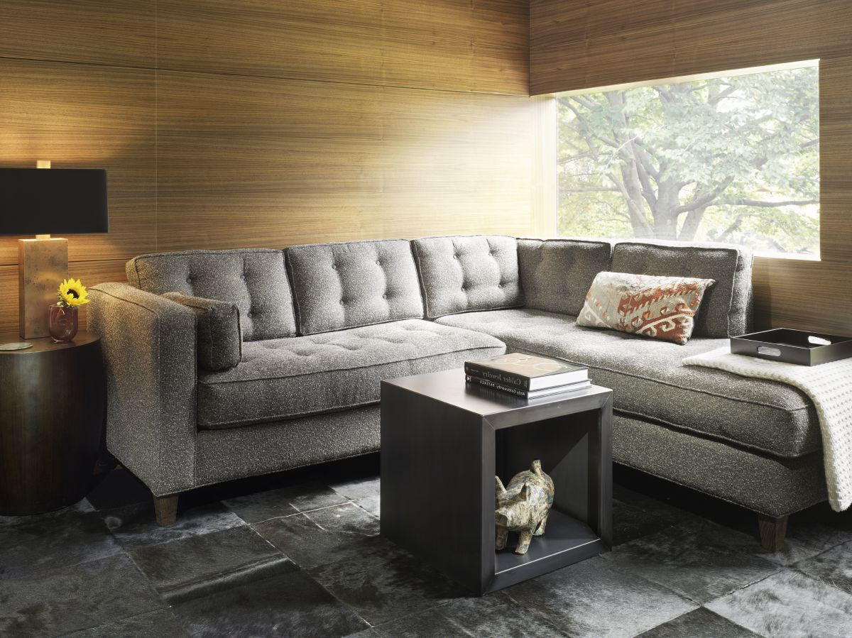 elegant living room ideas decorating with modern grey fabric tufted sectionals sofa