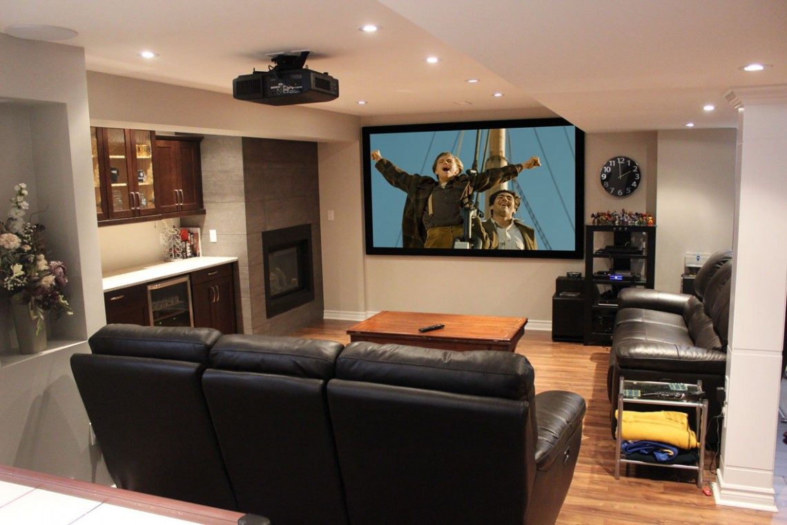 ideas to decorate a living room theater with black leather sofa