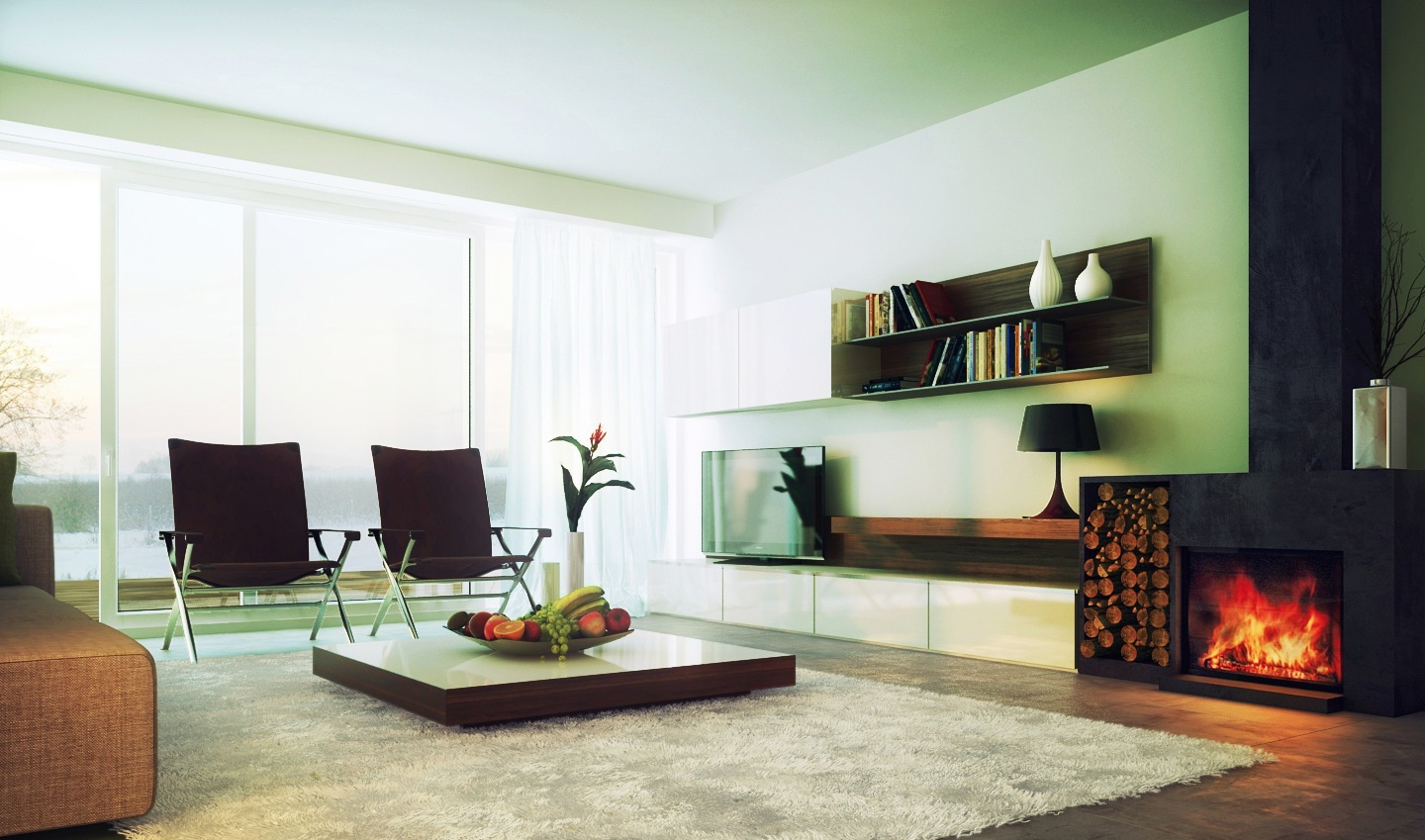 mid century modern living room sets with black stone fireplace decor