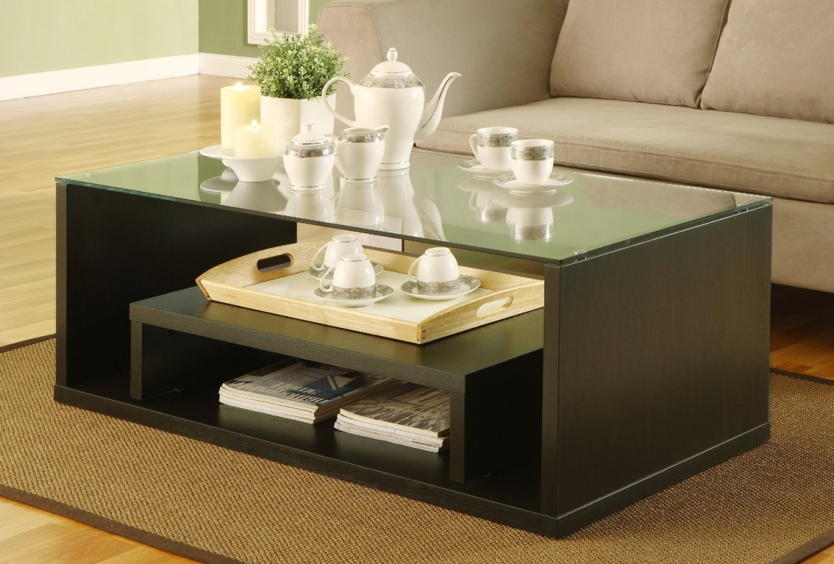 modern living room coffee tables set with glass on top design