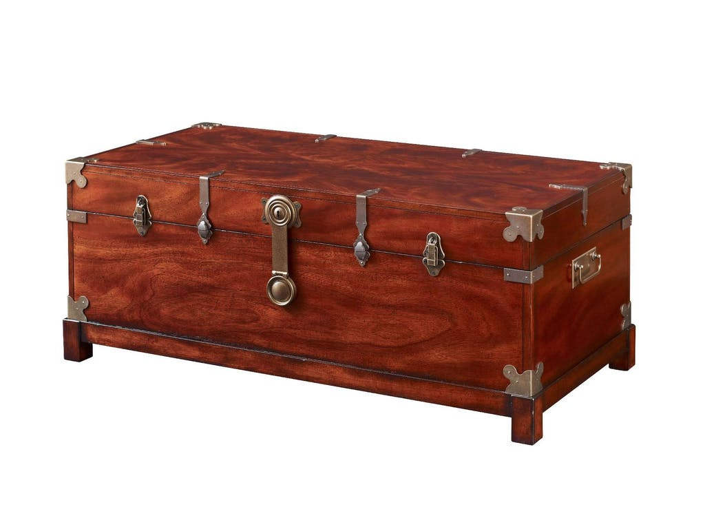 modern living room fruniture with wooden storage chest coffee table