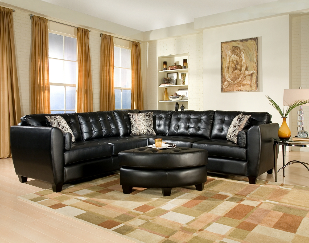 modern living room ideas decorating with black leather tufted sectionals sofa sets
