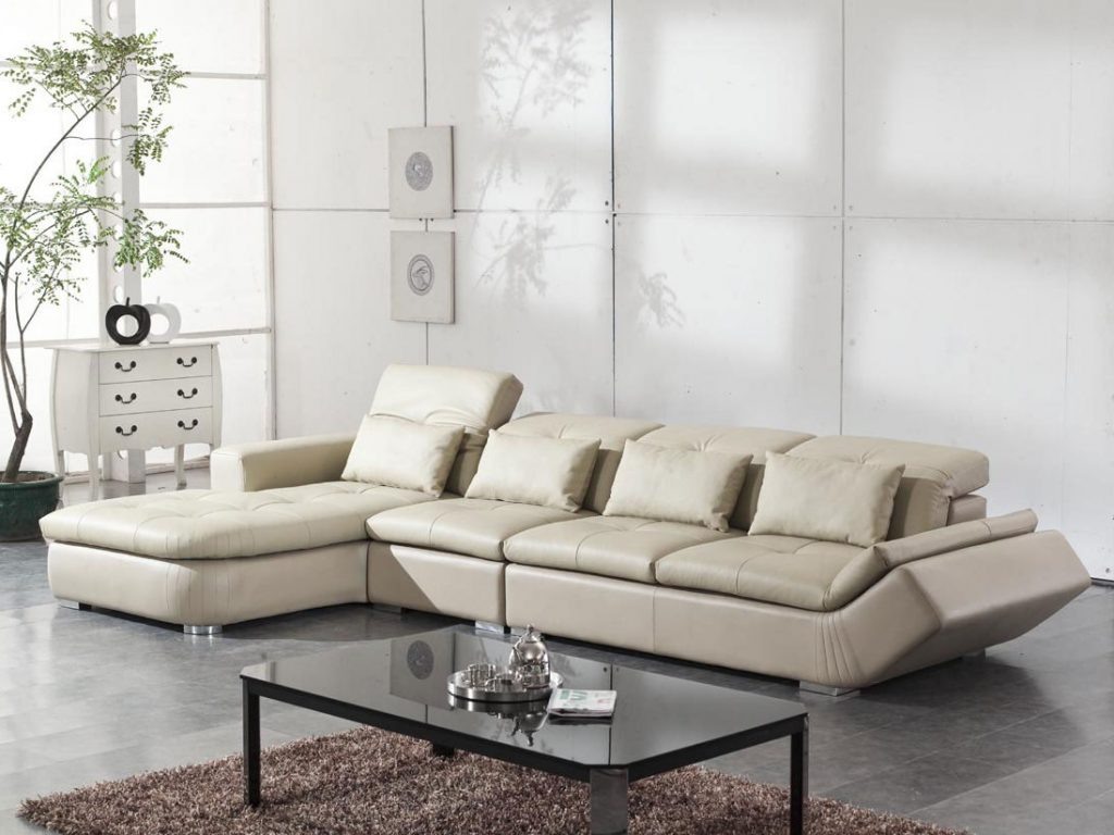 Modern living room ideas decorating with white leather - Small apartment sectional sofa ...