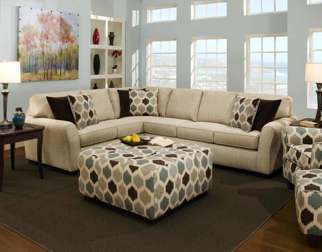 modern living room ideas decorating with white sectionals sofa and square fabric coffee tables