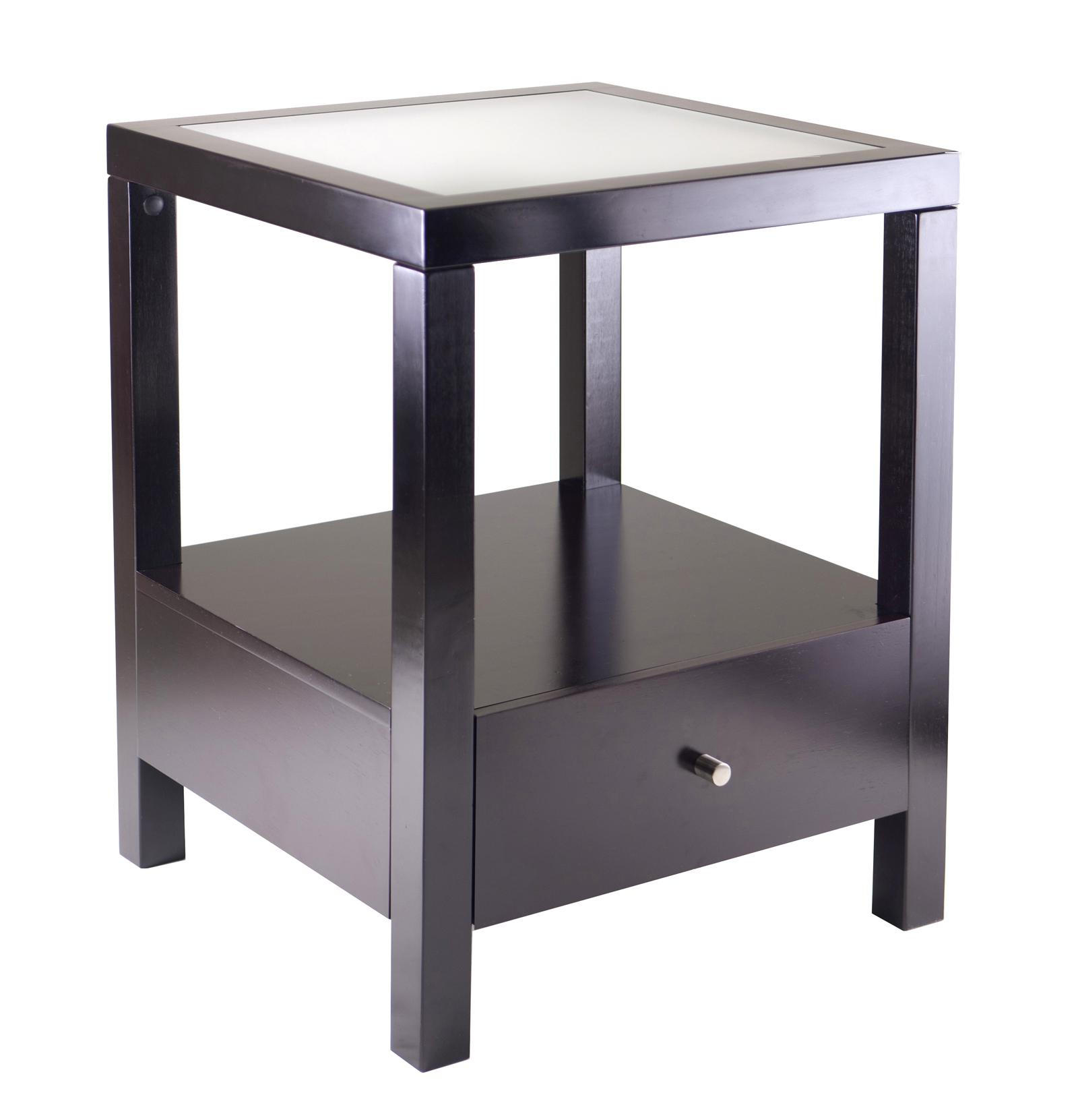 modern square black living room wooden end tables with storage design