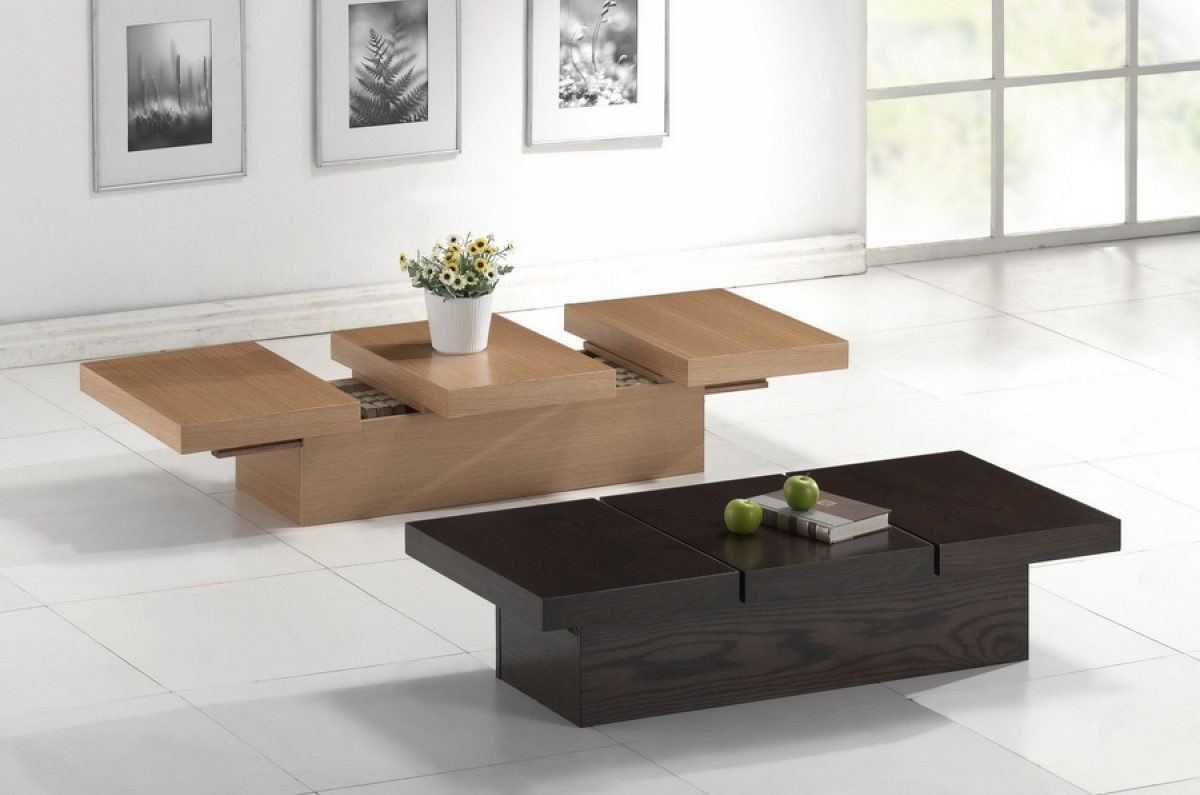 modern wood maple living room with adjustable coffee tables set