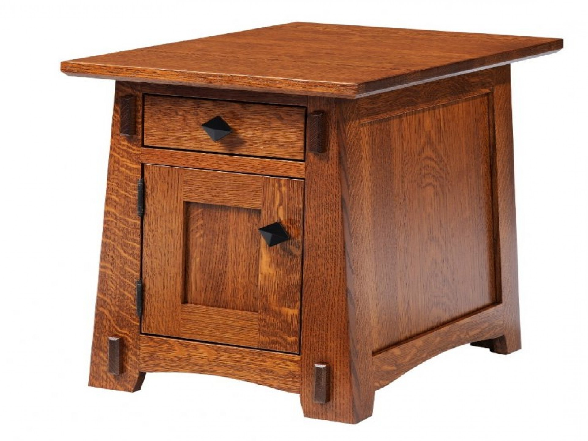 small living oak wooden room end tables with storage design