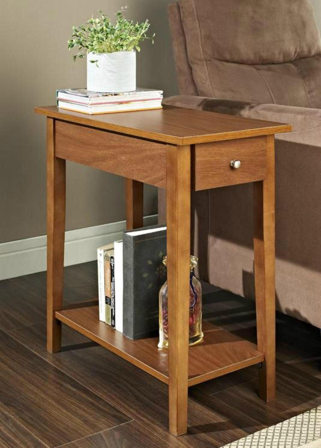 small oak wood end tables with storage design for small accent tables living room