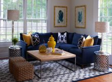 small spaces living rooms with modern navy blue sectionals and small cushions ideas