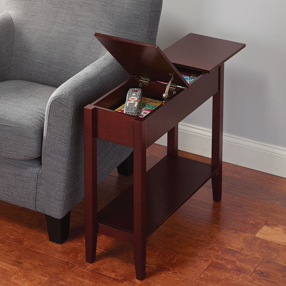 small wooden cherry end tables with storage design for small spaces living room