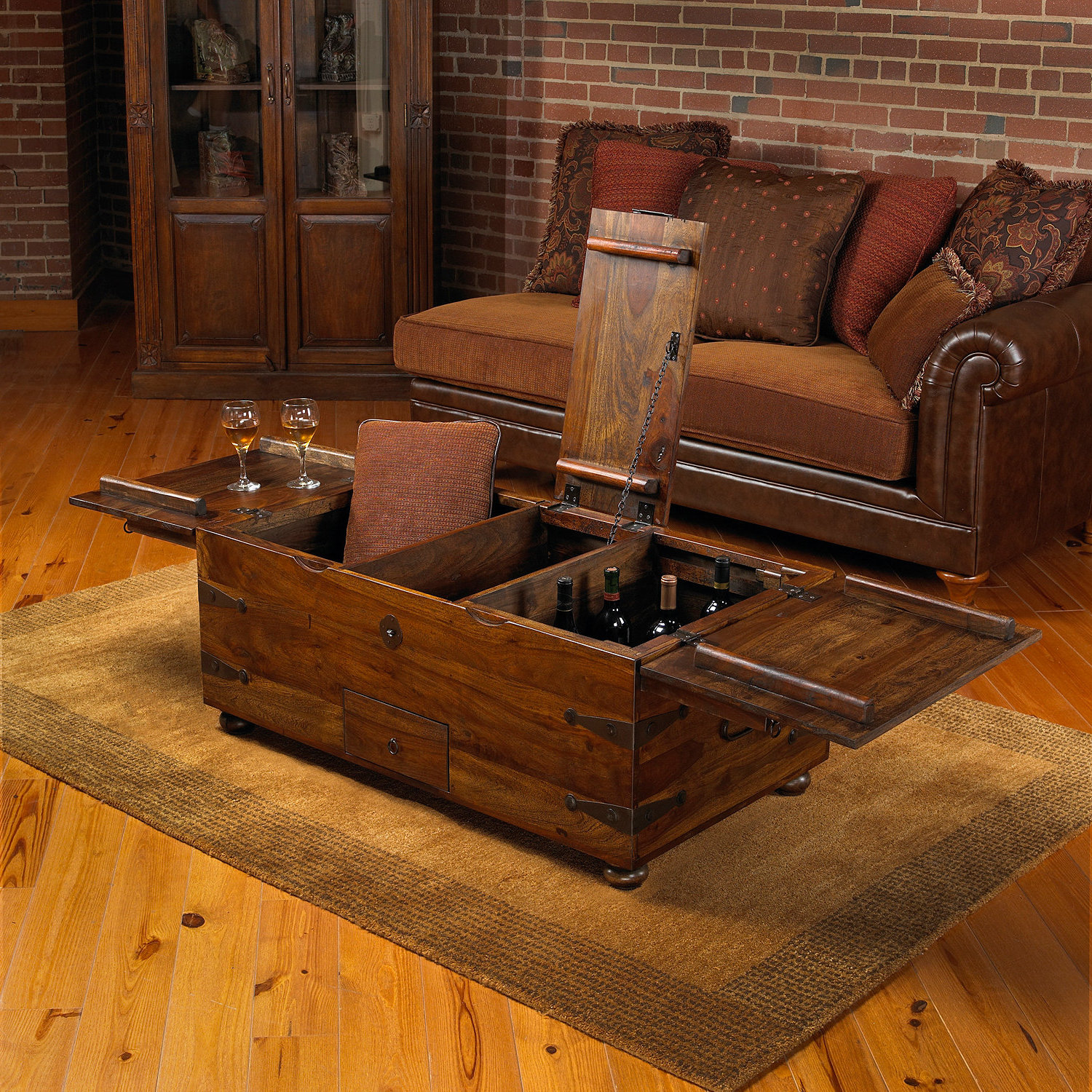wooden living room furniture sets with storage chest coffee table ideas