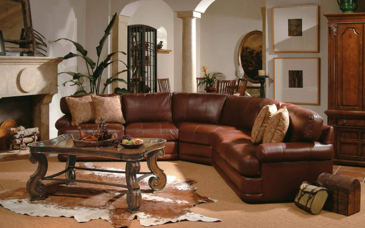 awesome home decor western living room ideas with leather brown sofas