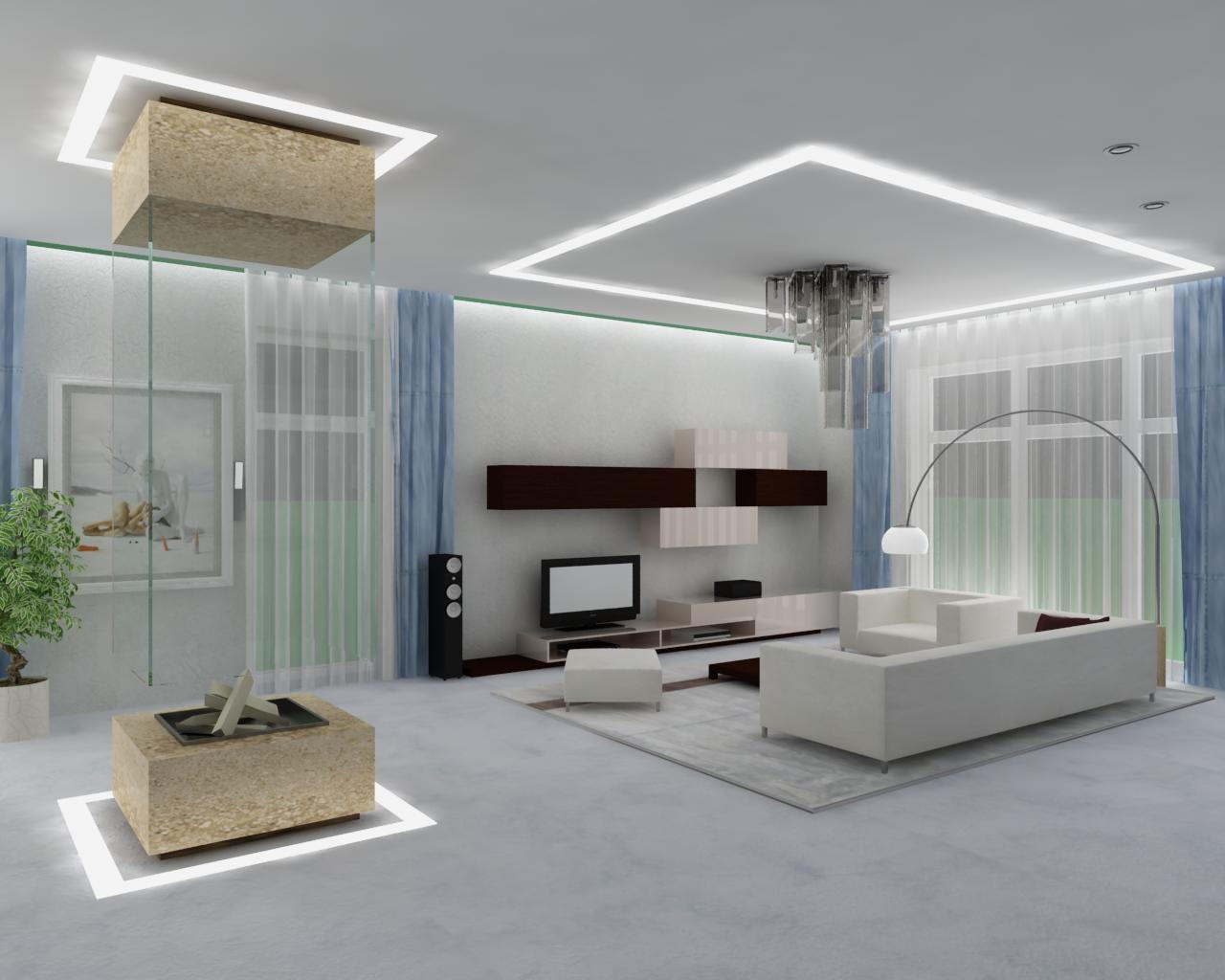 beautiful modern white living room ceiling lighting ideas